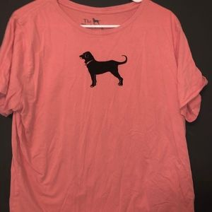 Black dog pink top